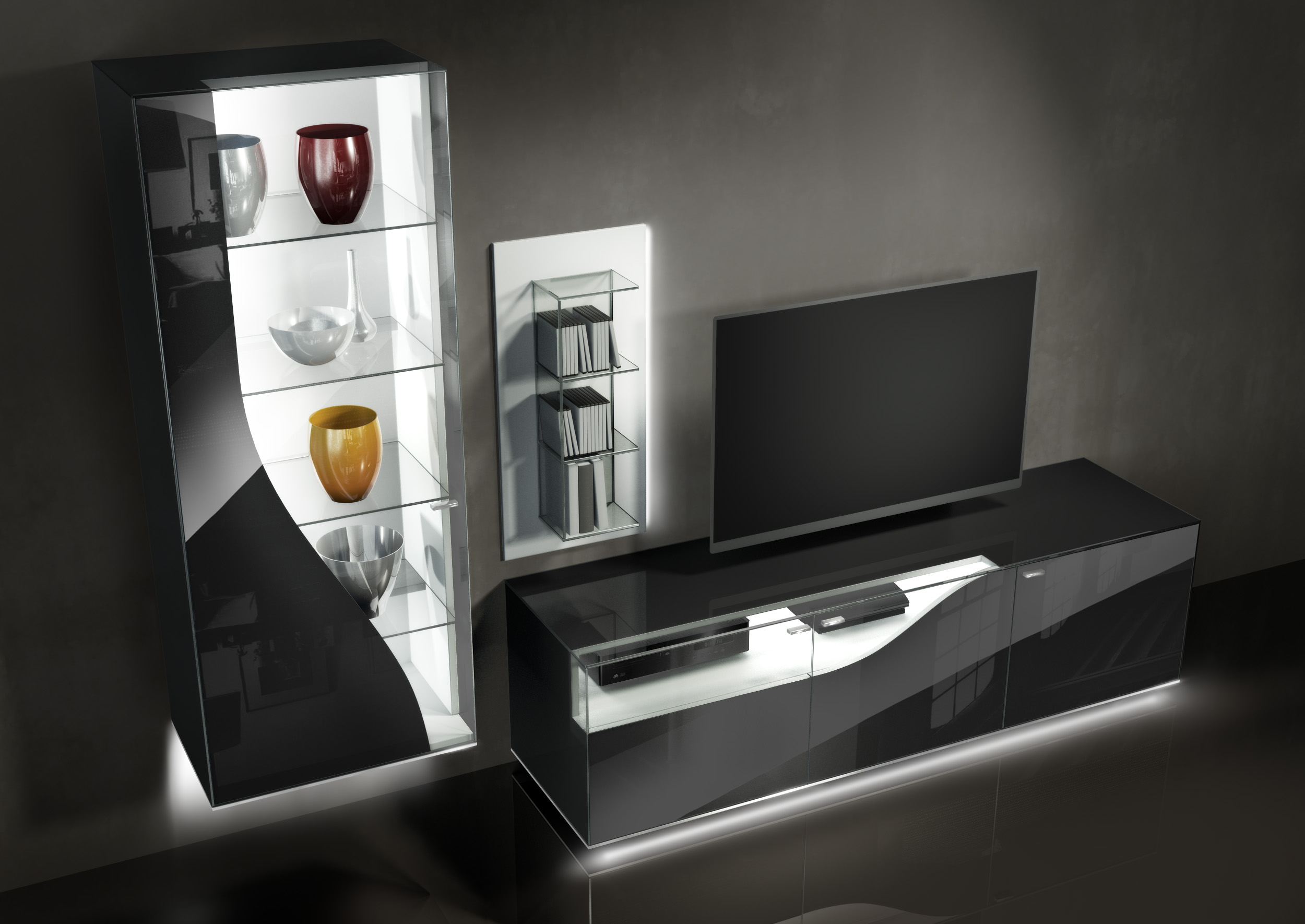 81 wohnzimmerschrank leonardo wohnwand in weiss. Black Bedroom Furniture Sets. Home Design Ideas